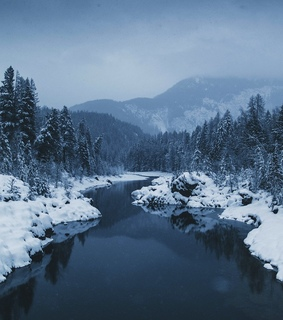 snow, landscape and river
