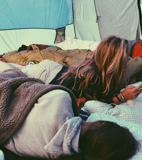 friends, tent and travel