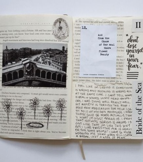 quotes, black and white and sketch book