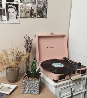 home, record player and music