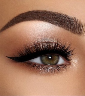 lashes, brown shadow and black liner