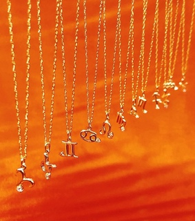astrology, necklace and orange