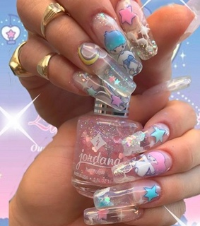 twin stars, nail art and sanrio