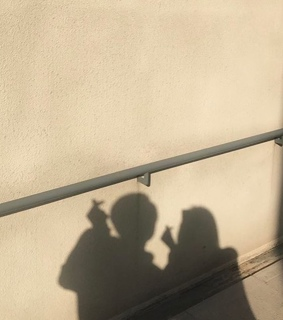 couple, art and shadow