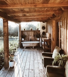cabin, fall and woods