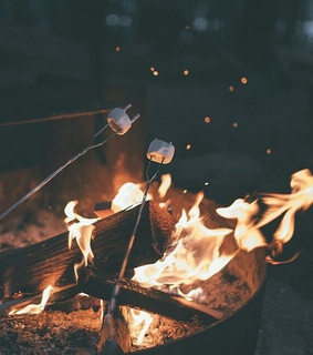 lights, marshmallow and fire