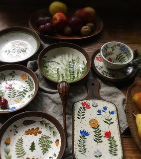 plates, countryside and flowers