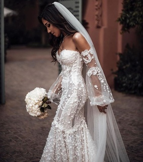 veil, bridal gown and gown