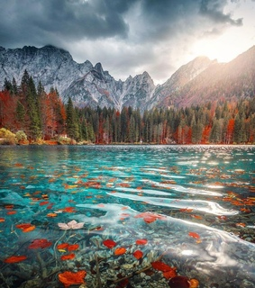 fall, places and lake