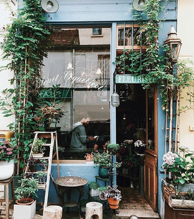 europe, building and flower shop