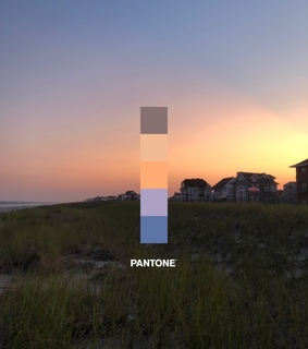 palette, beach and sunset