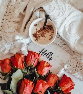 flowers, roses and cup of coffee