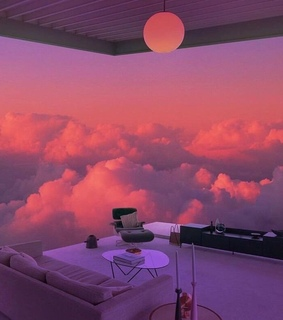 sky, home and pink