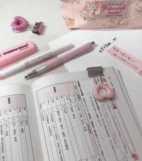 pink, japanese and pens