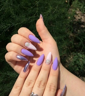 purple, nails and nail art
