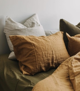 orange, pillows and decorations