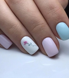 nail, blue and flower