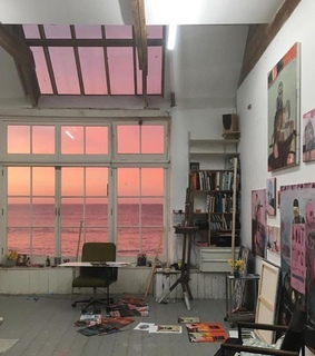 pink, house and paintings
