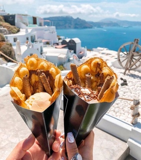 Greece, chocolate and waffle