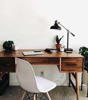 desk, white and interior