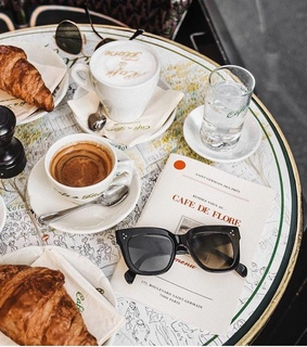 cafe, drinks and croissant