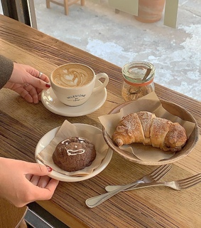 food, croissant and beige