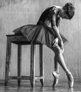 ballet, dancer and black and white photography