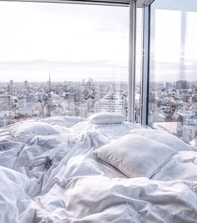 city, bedroom and white