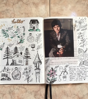 journal, bullet journal and text