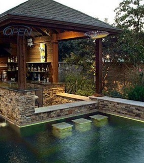 backyard, outdoors and pool
