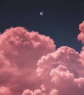clouds, blue and moon