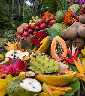 healthy, tropical and food