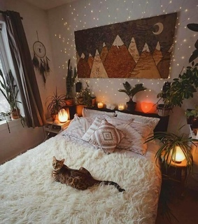 home decoration, bedroom and lights