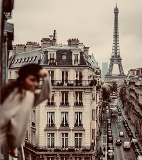 view, parisian and eiffel tower