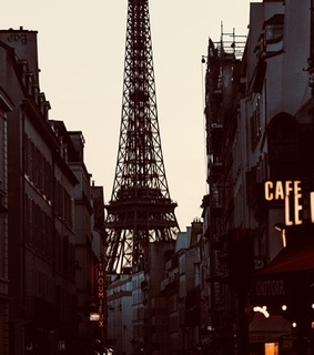 parisian street, cafe and tour eiffel