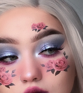 pink rose, blush and arched brows