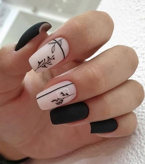 black, nails art and matte