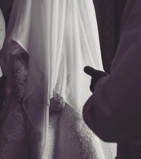 bride, khimar and black and white