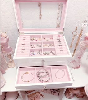 rings, jewelry box and bracelets