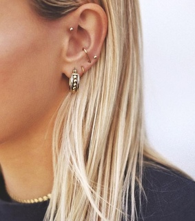 golden, earing and rings