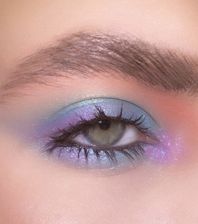 fantasy look, baby blue and purple