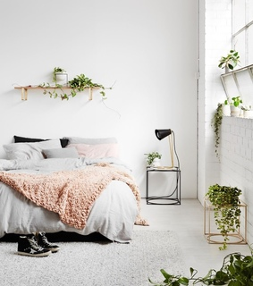 pretty, bedroom and plants