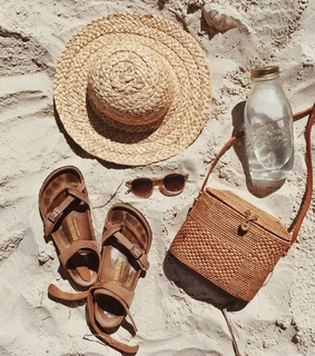 gold, tan and sandals