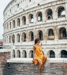colosseum, girl and italy