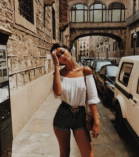 vacation, white top and gucci belt