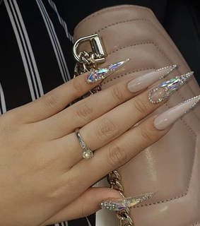 diamond, pink and nails