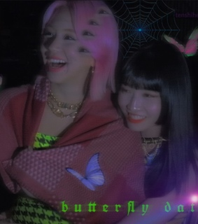 cyber edit, butterfly and girls