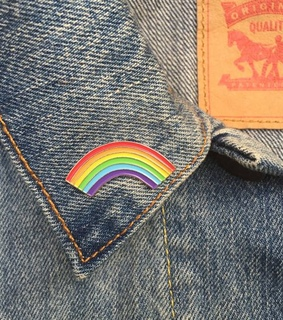 rainbow, levis and pin