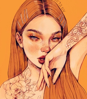 pose, freckles and orange