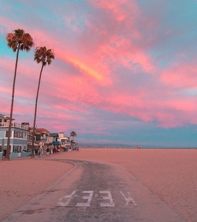 sunset, cali and beach